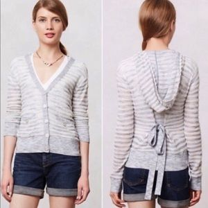 MOTH Anthropologie Striped Texture Hooded Sweater